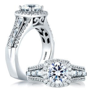 A Jaffe 14 Karat Signature Engagement Ring MES279