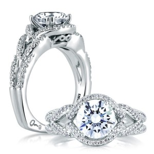 A Jaffe 14 Karat Signature Engagement Ring MES283