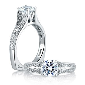 A Jaffe 14 Karat Signature Engagement Ring MES302