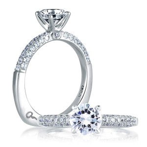 A Jaffe 14 Karat Signature Engagement Ring MES307