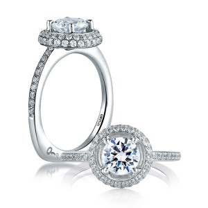 A Jaffe 14 Karat Signature Engagement Ring MES325