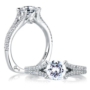 A Jaffe 14 Karat Signature Engagement Ring MES333