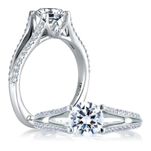 A Jaffe 14 Karat Signature Engagement Ring MES334