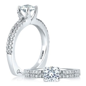 A Jaffe 14 Karat Signature Engagement Ring MES364