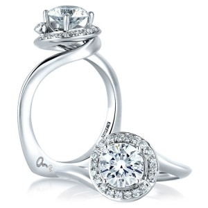 A Jaffe 14 Karat Signature Engagement Ring MES374