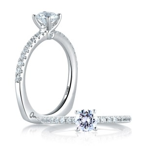 A Jaffe 14 Karat Signature Engagement Ring MES375