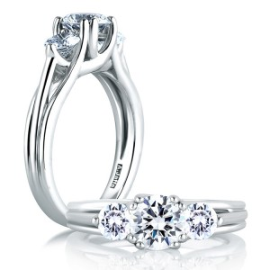 A Jaffe 14 Karat Three-Stone Engagement Ring ME1279