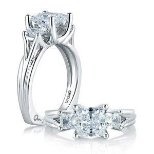 A Jaffe 14 Karat Three-Stone Engagement Ring MES104