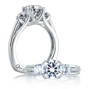 A Jaffe 14 Karat Three-Stone Engagement Ring MES225