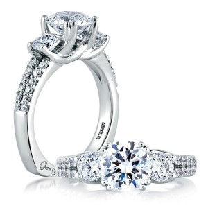 A Jaffe 14 Karat Three-Stone Engagement Ring MES278