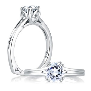 A Jaffe 18 Karat Solitaire Engagement Ring MES143