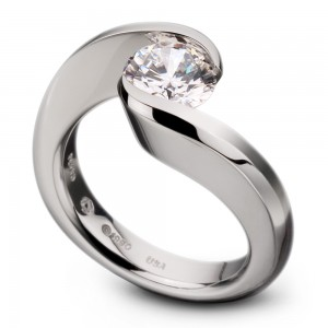 Kretchmer Platinum Swirl Tension Set Ring