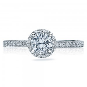 49RDP55 Platinum Tacori Sculpted Crescent Engagement Ring