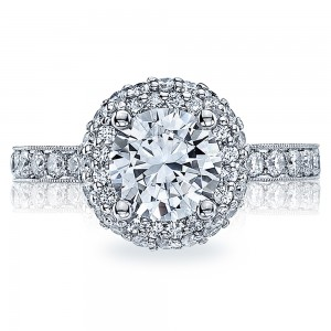 HT2520RD75 Platinum Tacori Blooming Beauties Engagement Ring
