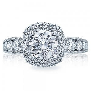 HT2521CU75 Tacori Crescent Platinum Engagement Ring