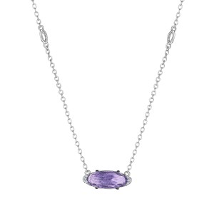 Tacori SN23301 Solitaire Oval Gem Necklace with Amethyst