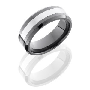 Lashbrook TCR8335 POLISH-BEAD Tungsten Ceramic Wedding Ring or Band