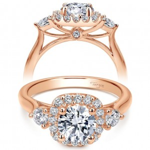 Taryn 14k Rose Gold Round Halo Engagement Ring TE7510K44JJ