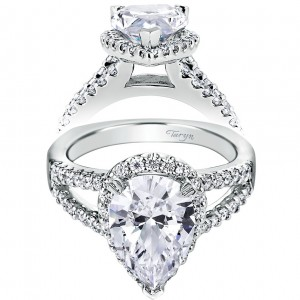 Taryn 14k White Gold Pear Shape Halo Engagement Ring TE6571W44JJ