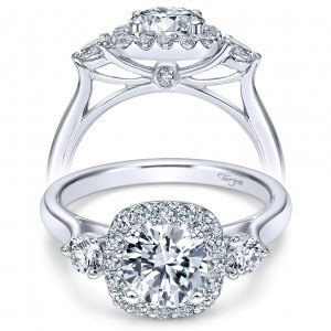 Taryn 14k White Gold Round 3 Stones Halo Engagement Ring TE7510W44JJ