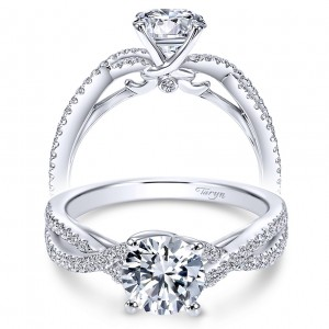 Taryn 14k White Gold Round Twisted Engagement Ring TE7546W44JJ