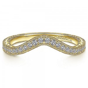 Gabriel 14 Karat Yellow Gold Curved Wedding Band WB14445R4Y44JJ