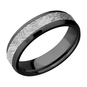 Lashbrook Z6B14(NS)/METEORITE Zirconium Wedding Ring or Band