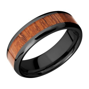 Lashbrook Z7B14(NS)/HARDWOOD Zirconium Wedding Ring or Band