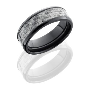 Lashbrook ZC8B15/SILVERCF POLISH Carbon Fiber Wedding Ring or Band