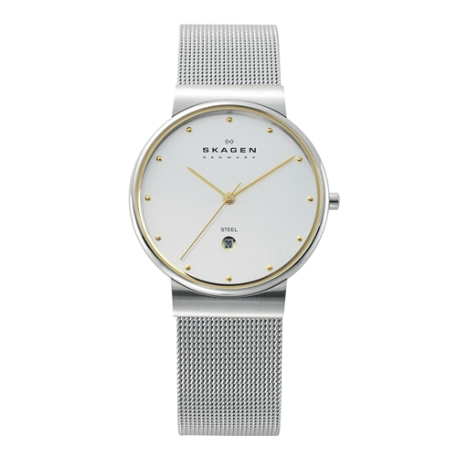 Skagen Watch - 355LGSC - Steel and Gold with Mesh Band