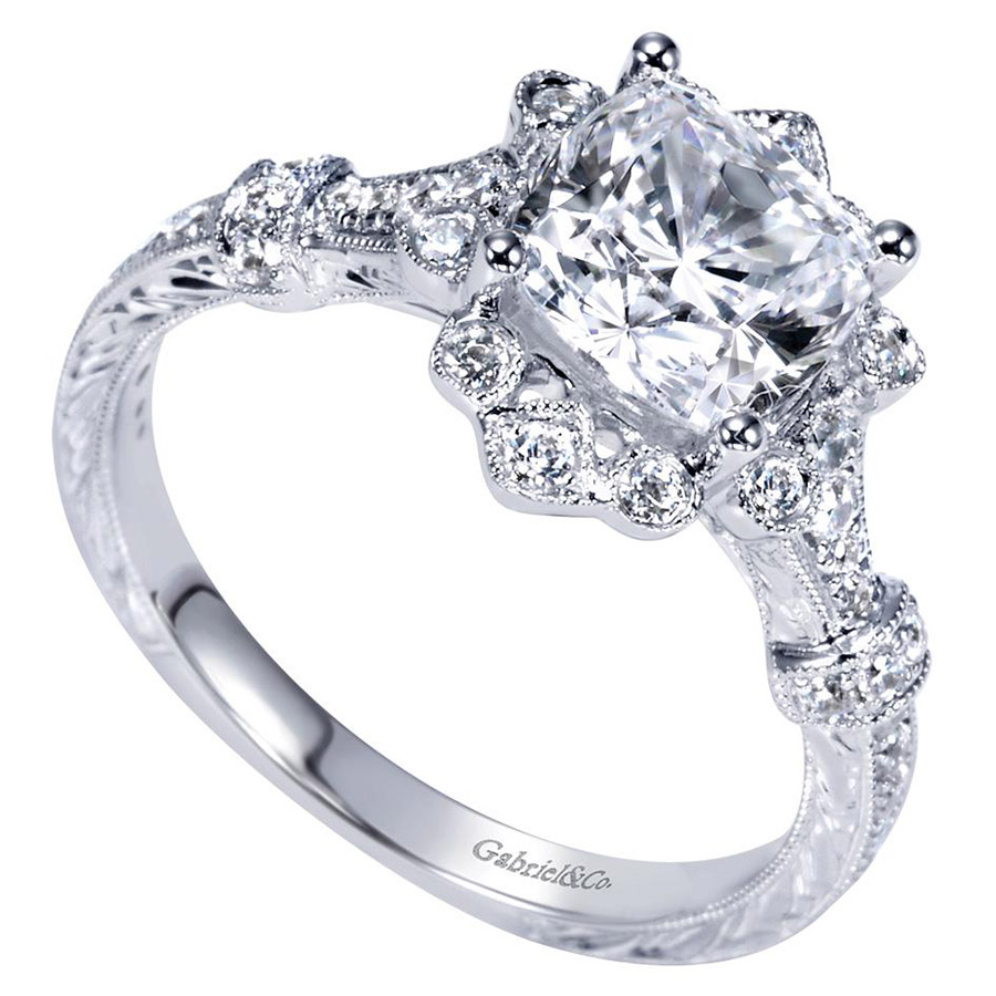 Gabriel 14 Karat Victorian Engagement Ring Er8838w44jj Alternative View  2