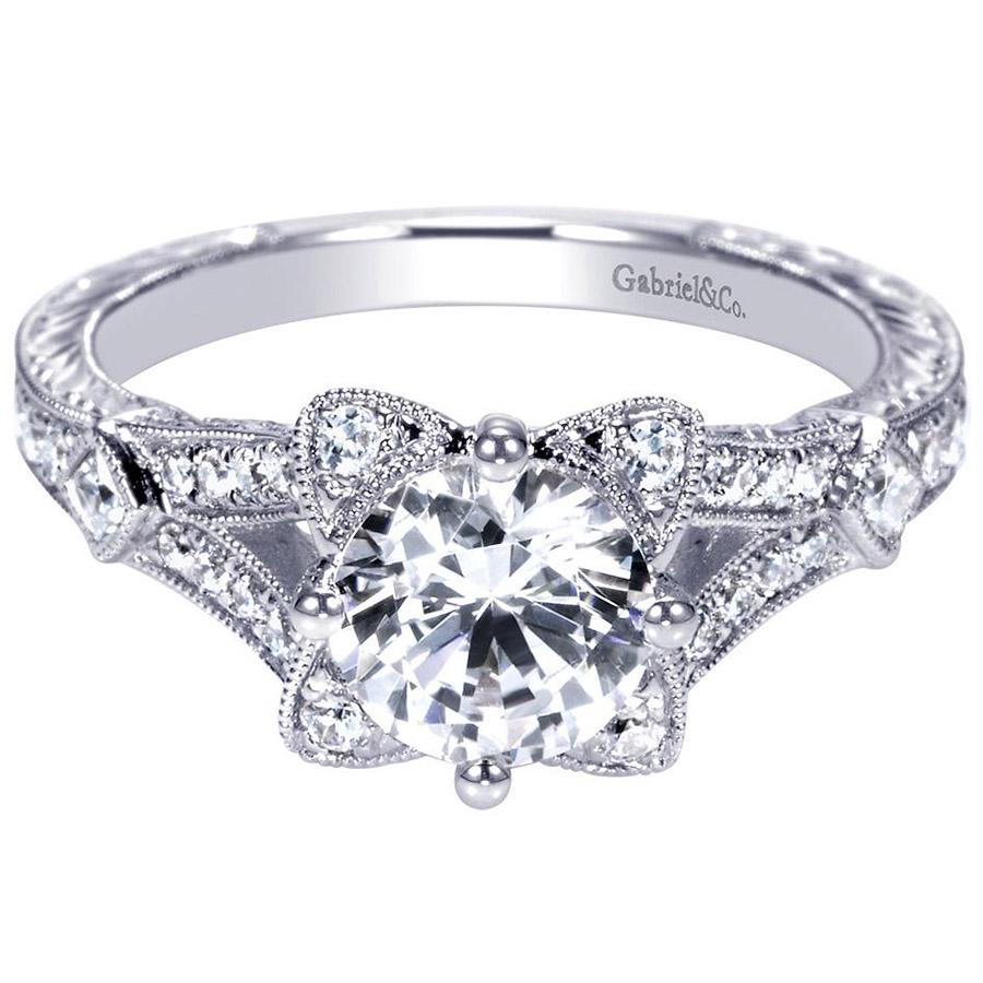 gabriel 14 karat victorian engagement ring er8790w44jj. Black Bedroom Furniture Sets. Home Design Ideas