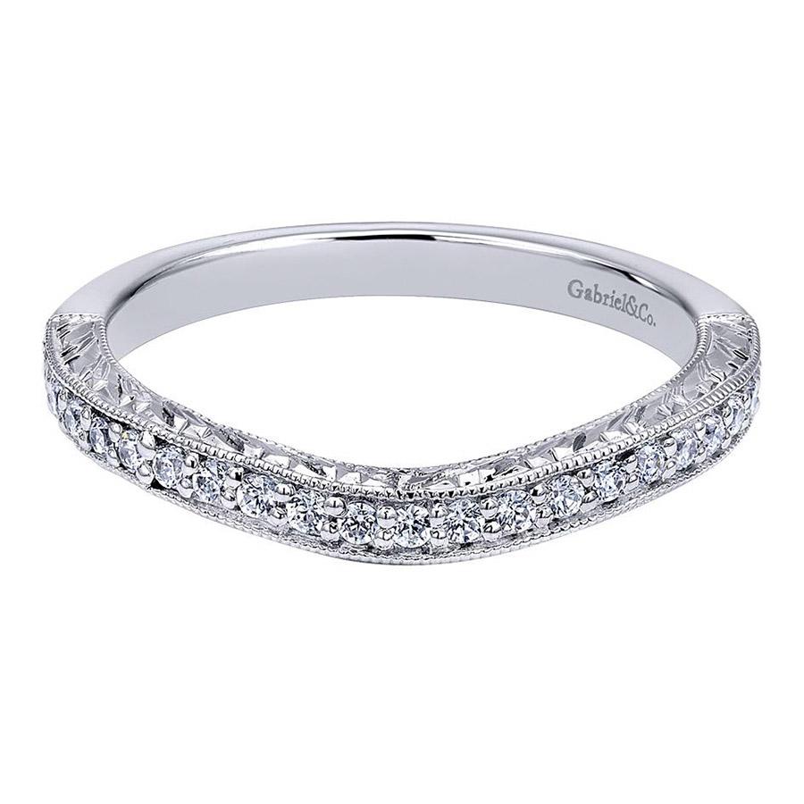 Gabriel 14 Karat Victorian Wedding Band WB10925W44JJ Wedding Rings
