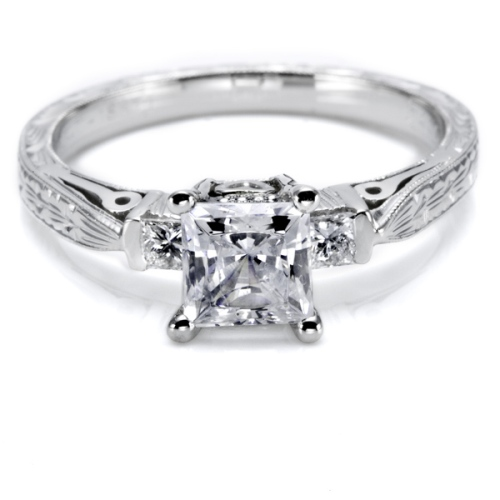 Tacori Hand Engraved 18 Karat Engagement Ring HT2223