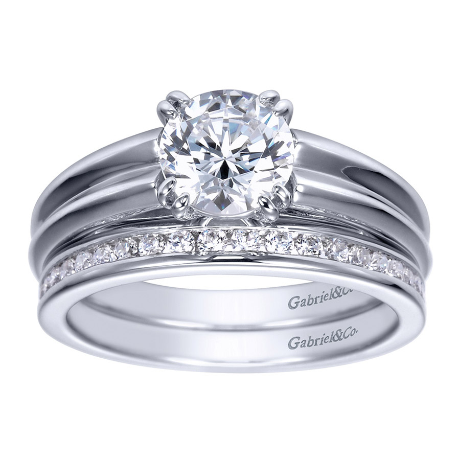 Gabriel Platinum Contemporary Engagement Ring ER8135PTJJJ Alternative View 3