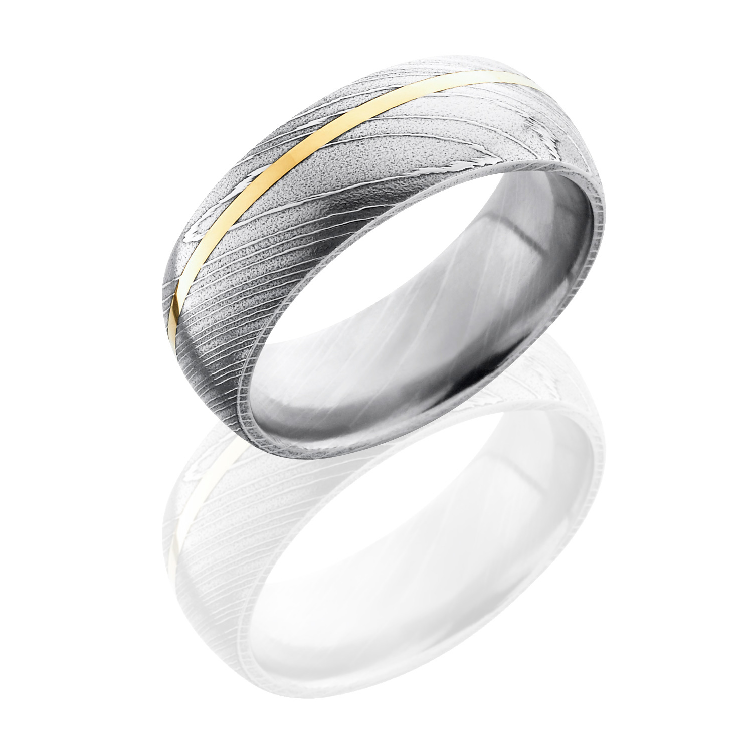 Lashbrook D8D11OC14KY SATINACID Damascus Steel Wedding Ring or