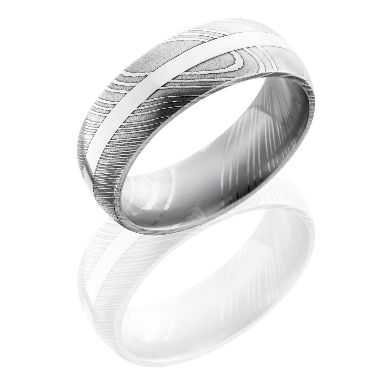 Lashbrook D8d12 14kw Polish Damascus Steel Wedding Ring Or Band Tq