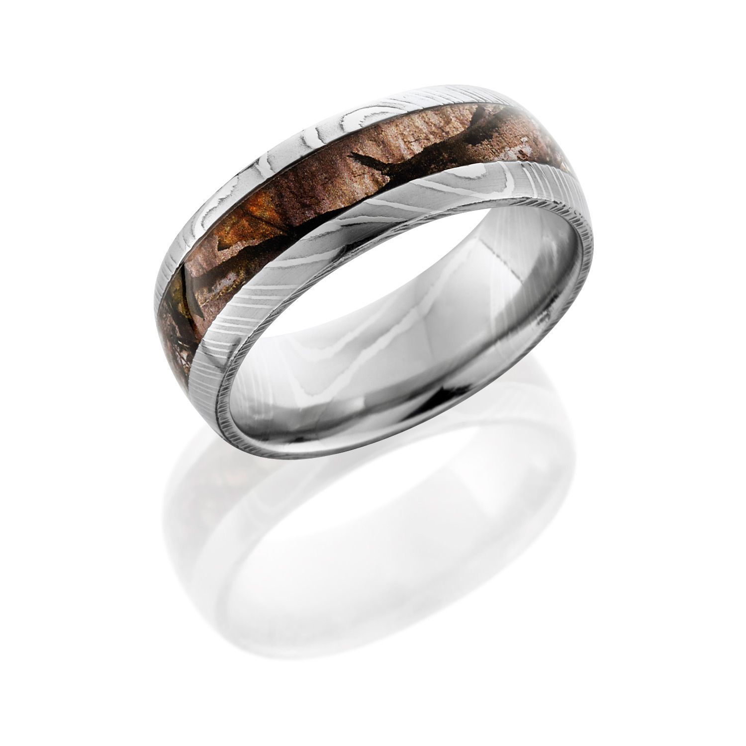 Lashbrook D8d14 Moctreestand Polish Damascus Steel Wedding Ring Or Band Tq Diamonds