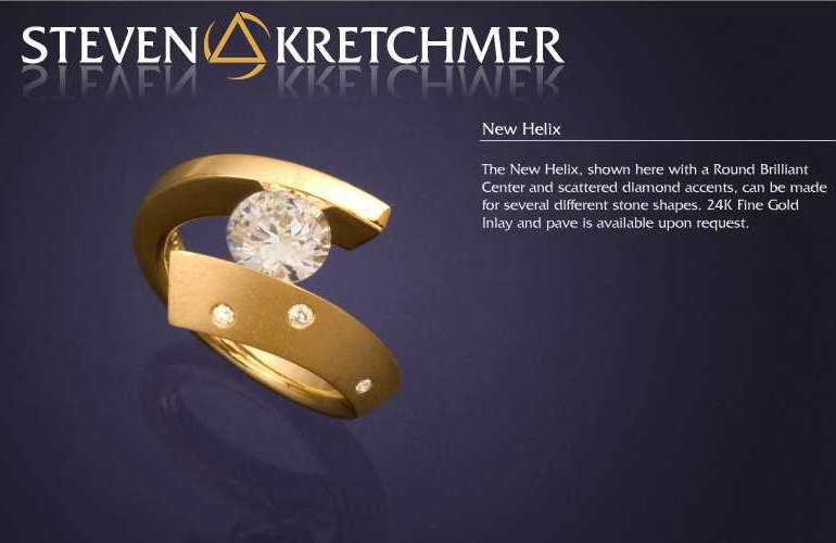 Kretchmer 18 Karat New Helix Tension Set Ring Alternative View 1