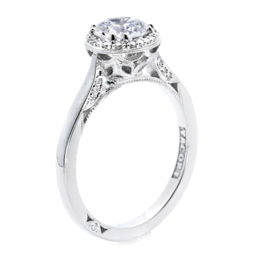 2639RD65 Tacori Dantela Platinum Engagement Ring Alternative View 1