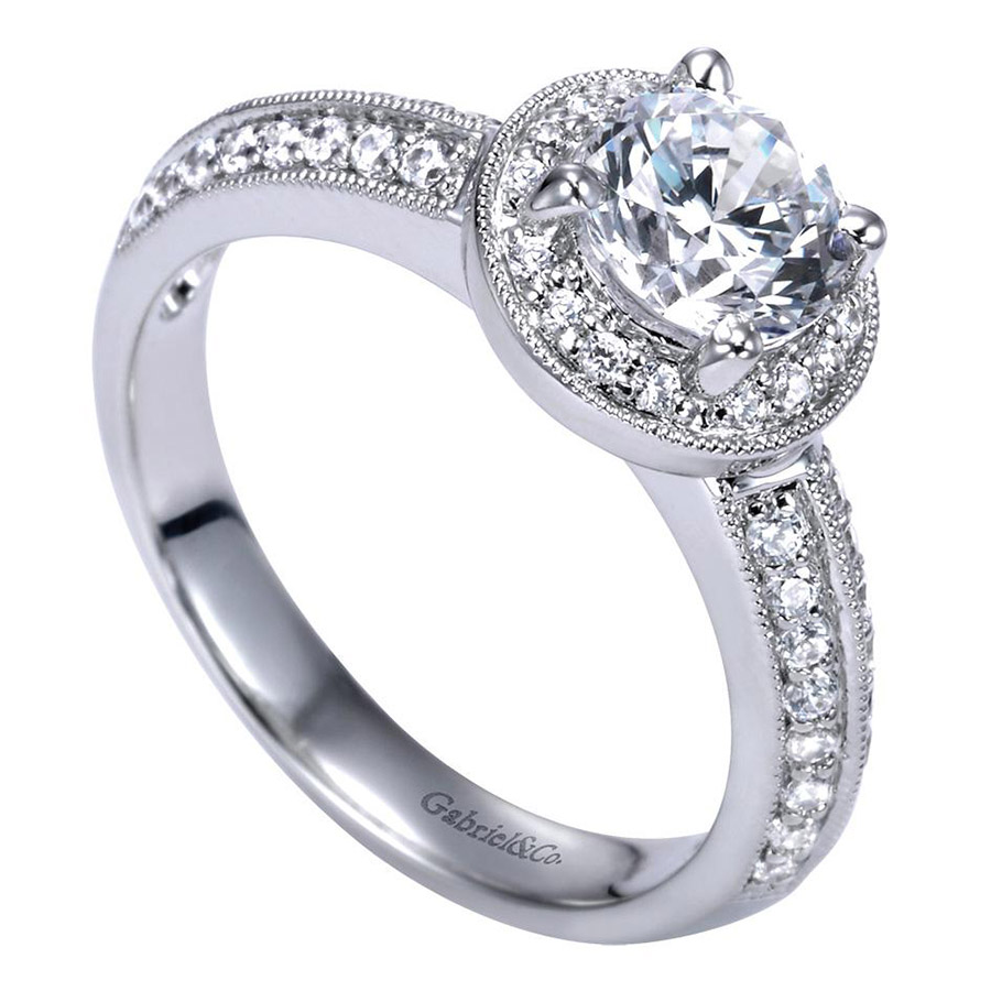 Gabriel 14 Karat Contemporary Engagement Ring ER3914PT3JJ Alternative View 2