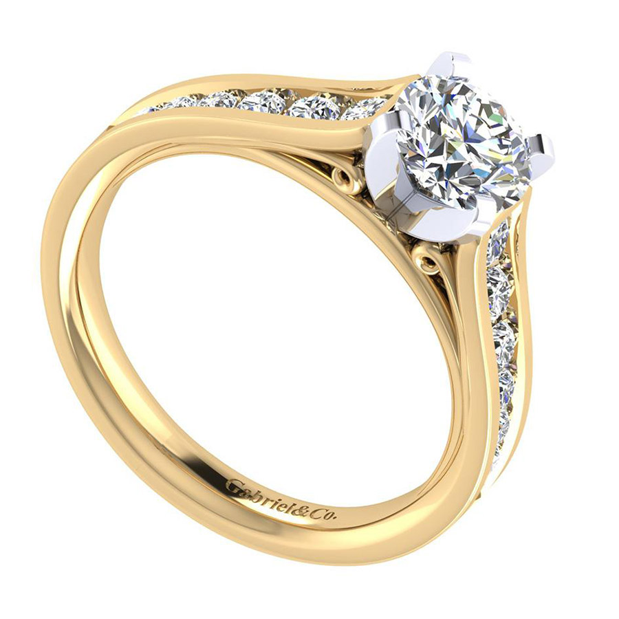 Gabriel 14 Karat Contemporary Engagement Ring ER8224M44JJ Alternative View 2