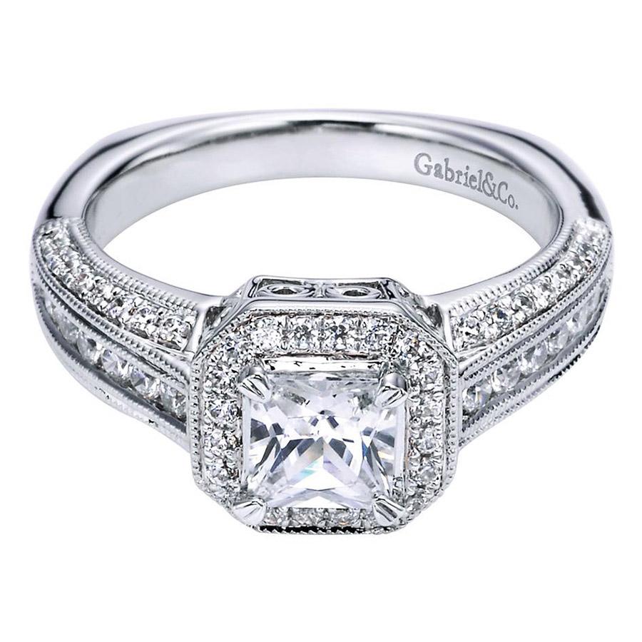 gabriel 14 karat victorian engagement ring er6229w44jj. Black Bedroom Furniture Sets. Home Design Ideas