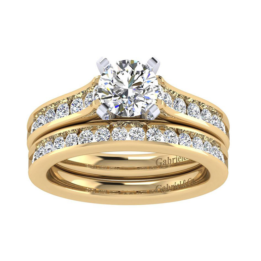 Gabriel 14 Karat Contemporary Wedding Band WB7438Y44JJ Alternative View 3