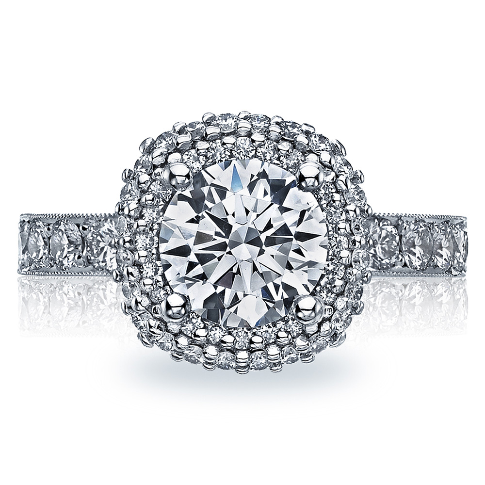 38-3CU75 Platinum Tacori Blooming Beauties Engagement Ring