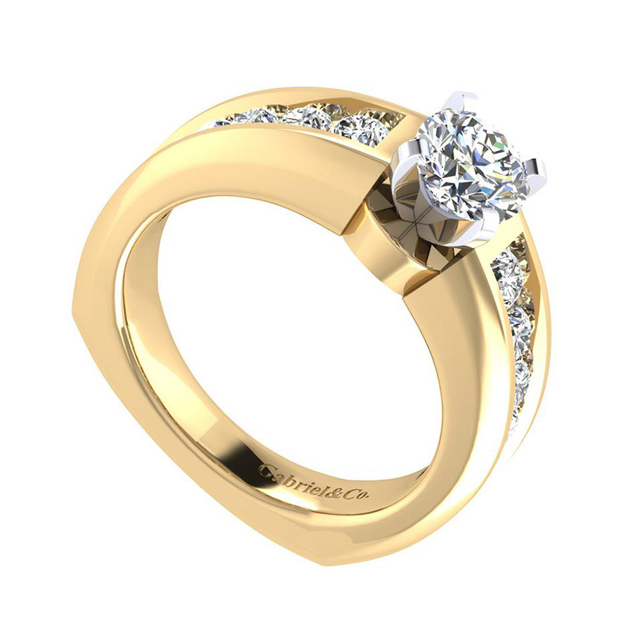 Gabriel 14 Karat Contemporary Engagement Ring ER4184M44JJ Alternative View 2