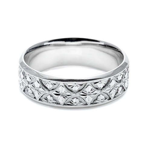 Tacori Platinum Hand Engraved Wedding Band HT2389