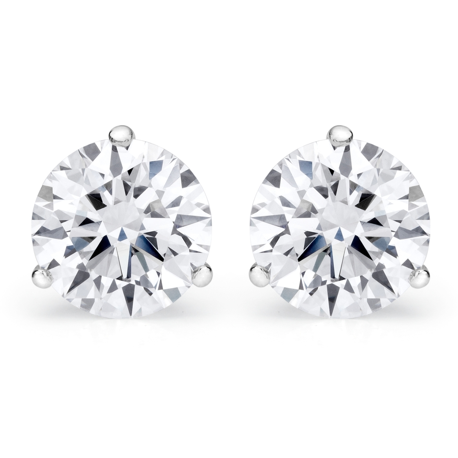 ctw h cut si diamond round i gold tw carat in earrings white stud