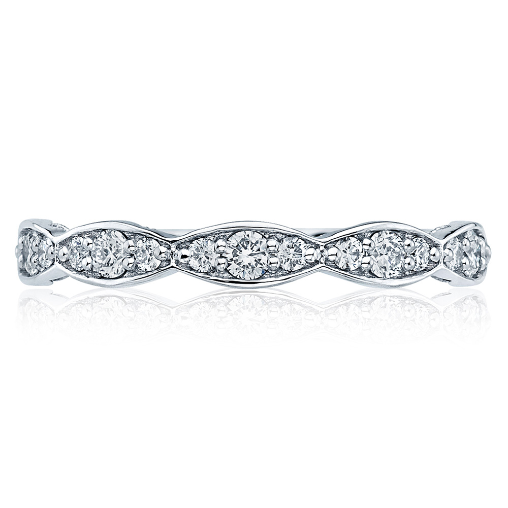 46-25 Platinum Tacori Sculpted Crescent Diamond Wedding Ring