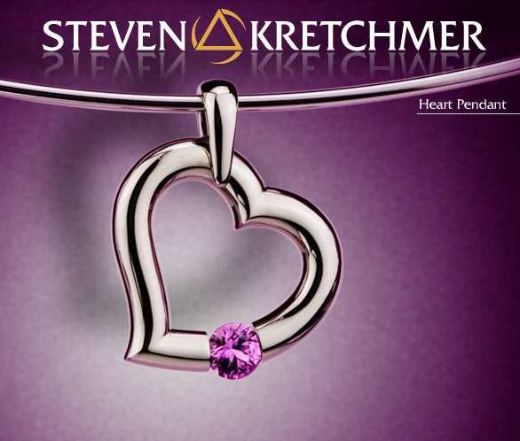 Kretchmer Platinum Heart Shape Tension Set Pendant Alternative View 1